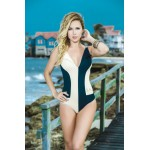 Navy Swimsuit with White Paneling 6843