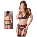 Black And Pink Bra, Suspender Belt And Open Crotch String