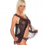 Black Baby Doll With Red Lace Trim And Matching Briefs One Size