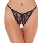 Lace Black Crotchless Tanga